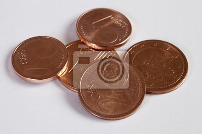 1 Und 2 Euro Cent Münzen Leinwandbilder Bilder Finanzierung Cent