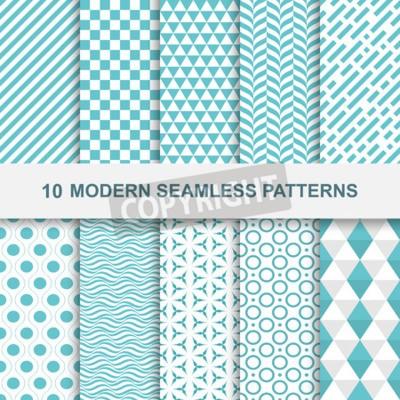 Bild 10 Moderne nahtlose geometrische Muster. Dekorative grüne Texturen.
