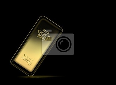Bild 1kg gold bar isolated on a black background with clipping path