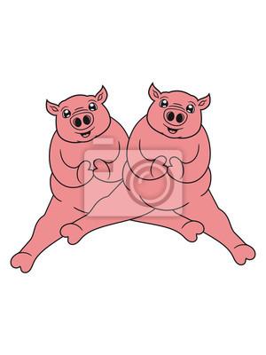 2 Freunde Team Paar Sitzt Dick Schwein Süß Niedlich Komisch Cartoon