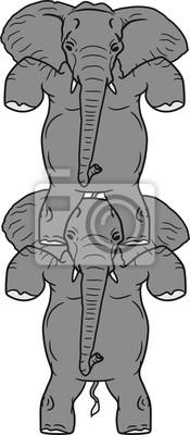 2 Freunde Turm Paar Zirkus Stehend Laufend Kunststuck Elefant