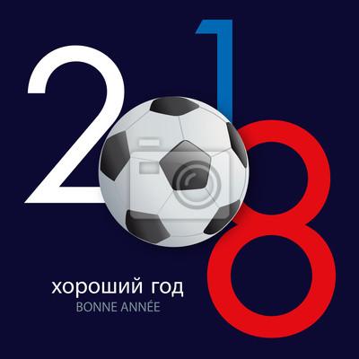 2018 - fuß - fußball - russie - carte de vœux - coupe du monde - bonne année