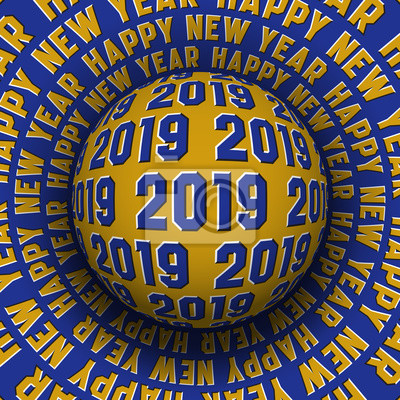 2019 Happy New Year optical illusion greeting card. Patterned sphere rolling on rotating surface.