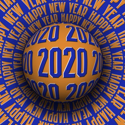 2020 Happy New Year optical illusion greeting card. Patterned sphere rolling on rotating surface.