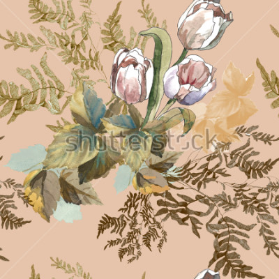 Bild 3 white tulips and grass watercolor on pink beige background seamless pattern for fabrics, paper