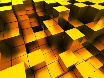 Bild 3D Abbildung der goldenen Würfel