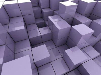 Bild 3D Abbildung von violetten Würfeln