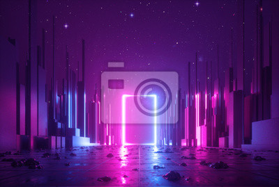 Bild 3d abstract neon background, cyber space virtual reality, ultraviolet glowing frame, portal at the end of the street of fantastic city, minimal skyscrapers, post apocalyptic urban concept, night sky