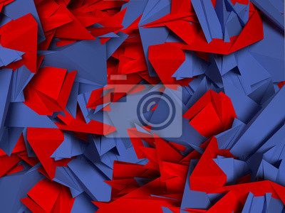 Bild 3D abstrakten Hintergrund von roten und blauen Formen