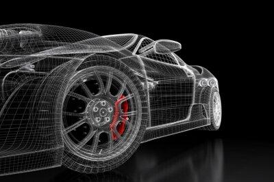 Bild 3D Auto Mesh auf schwarz