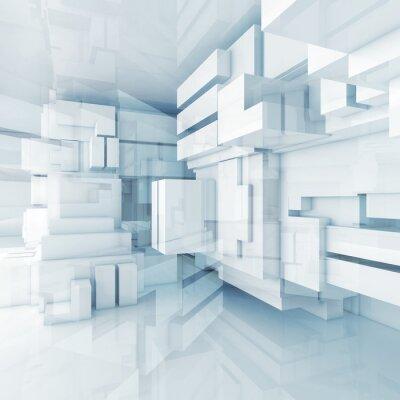 Bild 3d blue high-tech background with chaotic cubes
