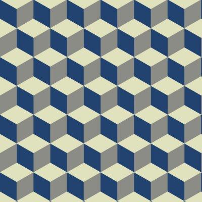 3D Cube auf Blau, Gelb und Creme Muster