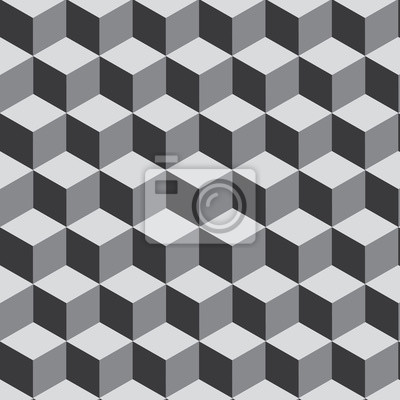 3D Cube on grayscale pattern