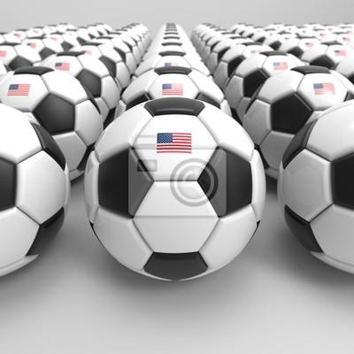 3D Darstellung der Fußball mit Sternen und Streifen