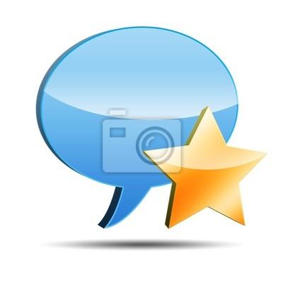 3D Icon Kommentar mit Stern-Symbol