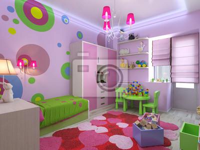 Bild: 3d illustration kinderzimmer für mädchen in rosa farben