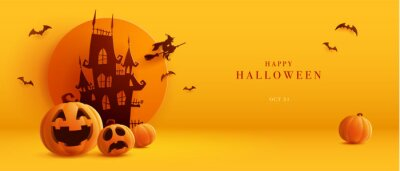 Bild 3D illustration of Halloween theme banner with group of Jack O Lantern pumpkin and paper graphic style of castle on background.