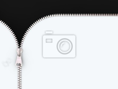 3D-Illustration Zipper auf weißen und schwarzen Hintergrund.