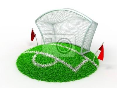 3D Konzept-Fußball Net-Tor auf weißem Hintergrund