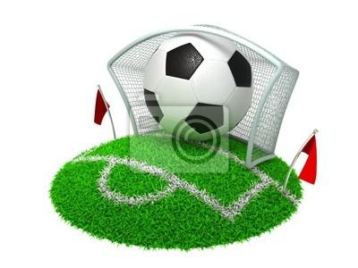 3D-Konzept Fußball-Tor auf weißem Hintergrund
