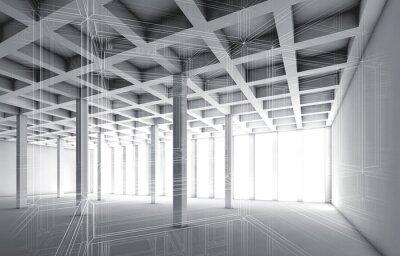 Bild 3d leere Innenraum mit Draht-Frame-Effekt