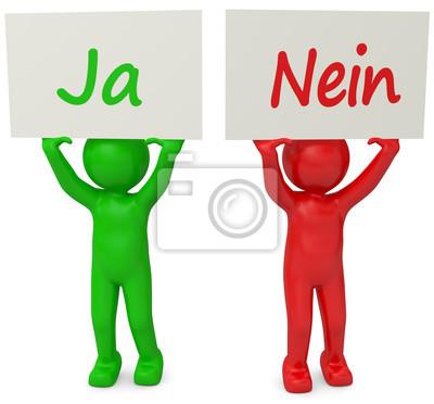 3d Mannchen Ja Nein Rot Grun Leinwandbilder Bilder Gegen