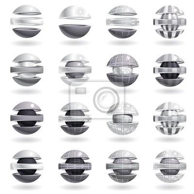 3d metallischen Kugel Symbole.