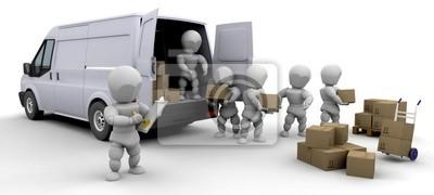 3D Möbelwagen und Männern