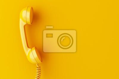 Bild 3d phone reciever on yellow background.