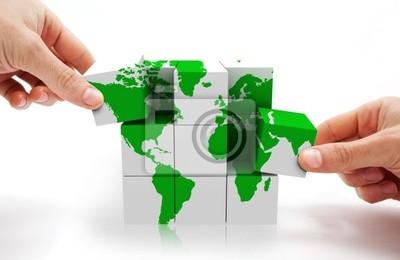 3D-Puzzle konzeptionellen Bild und Weltkarte