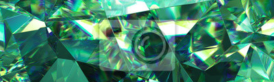 Bild 3d render, abstract green crystal background, faceted texture, emerald gem macro, panorama, wide panoramic polygonal wallpaper