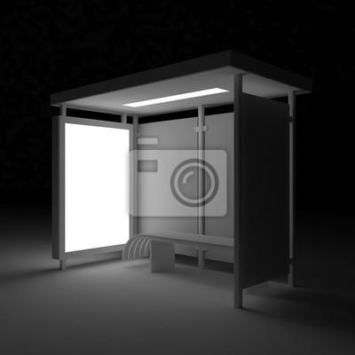 Bild 3D render Bus Schutz mit leeren Anzeige Citylight