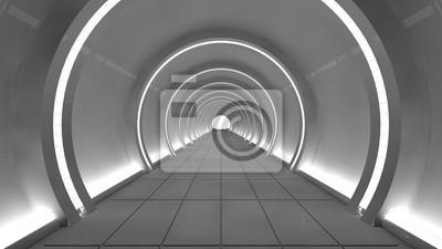 Bild 3D render Innenraum. Futuristischer Flur. Interior Konzept-Design