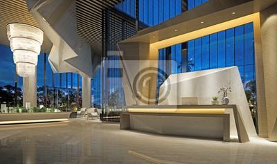 Bild 3d render of modern hotel reception lobby