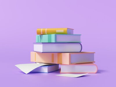 Bild 3d render stack of books and paper on purple background