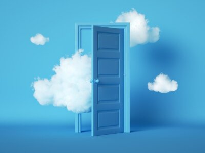 Bild 3d render, white fluffy clouds going through, flying out, open door, objects isolated on blue background. Door to haven abstract metaphor, modern minimal concept. Surreal dream scene
