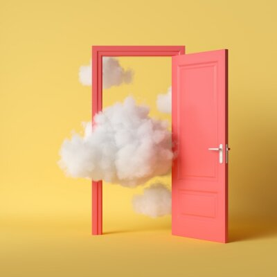 Bild 3d render, white fluffy clouds going through, flying out, open red door, objects isolated on bright yellow background. Abstract metaphor, modern minimal concept. Surreal dream scene