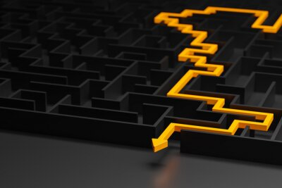 Bild 3d rendering: Concept - solving a complex problem. Black maze and floor with yellow solution path with arrow. Low key image.