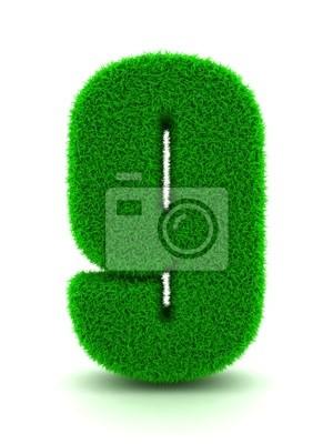 3D-Rendering der Zahl 9 Gras isoliert auf weißem Hintergrund.