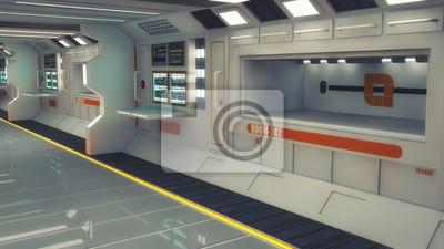 Bild 3D-Rendering Futuristischer leerer Innenkorridor