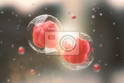 Bild 3d rendering of Human cell or Embryonic stem cell microscope background.