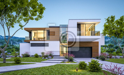 Bild 3d rendering of modern house by the river at evening