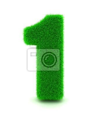 3D-Rendering von Grass Nummer 1 auf Weißem Hintergrund Isoliert.
