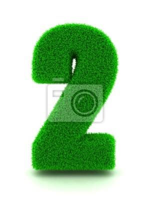3D-Rendering von Grass Nummer 2 auf weißem Hintergrund isoliert.