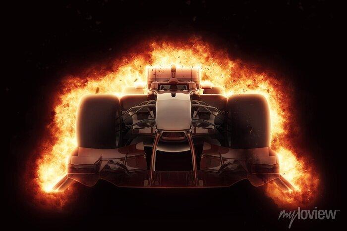 Bild 3D-Rennwagen mit feurigen Explosionseffekt