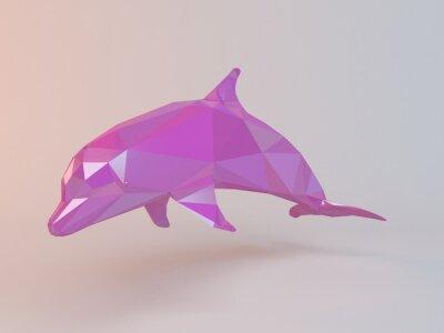 Bild 3D rosa niedrigen Poly (Delphin) in einem weißen Stadium mit hoher Render-Qualität als Logo, Medaille, Symbol, Form, Emblem, Symbol, Kinder Geschichte oder jede andere Verwendung verwendet werden.