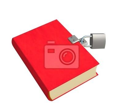 3D-roten Buch, geschlossen auf die Sperre. Objekte in weiß