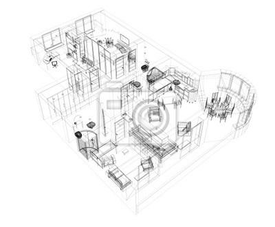 3D-Skizze eines Vier- Zimmer-Wohnung