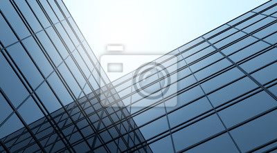 Bild 3D stimulieren blaues Gebäude des hohen Aufstieges und dunkles Stahlfenstersystem auf blauem Hintergrund des klaren Himmels, Konzept der zukünftigen Architektur, Nachschlagen zum Winkel des Eckgebäude
