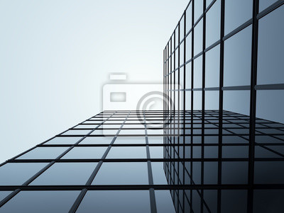 Bild 3D stimulieren des Highriseglasgebäudes und des dunklen Stahlfenstersystems auf blauem Hintergrund des klaren Himmels, Geschäftskonzept der zukünftigen Architektur, Nachschlagen zum Winkel des Eckgebä